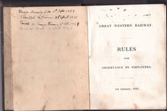 Great Western Railway Rules for Observance by Employees - Secondhand