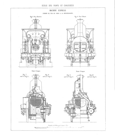 Set of 3 Engineering Drawings of an 1869 2-4-0 'Locomotive