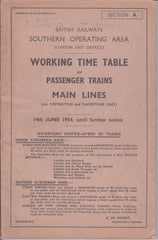 BR Southern Operating Area (London East District) Working Time Table of Passenger Trains Main Lines (Via Orpington and Maidstone East) 14th June 1954 - Secondhand