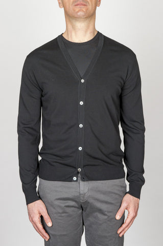 Strategic Business Unit - 00700 - Cardigan Classico In Maglia Di Puro Cotone Nero - Classic Pure Cotton Knit Black Cardigan - 古典的な純粋な綿のニットの黒のカーディガン