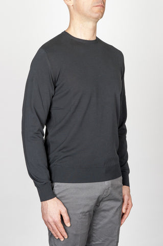 Strategic Business Unit - 00706 - Maglia Classica Girocollo In Puro Cotone Nera - Classic Crew Neck Sweater In Black Cotton - ブラックコットンの古典的なクルーネックセーター
