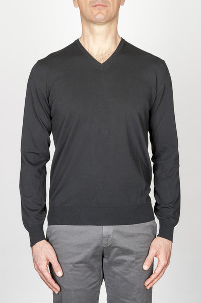 Strategic Business Unit - 00709 - Maglia Classica Scollo V In Puro Cotone Nera - Classic V Neck Sweater In Black Cotton - ブラックコットンの古典的なvネックのセーター