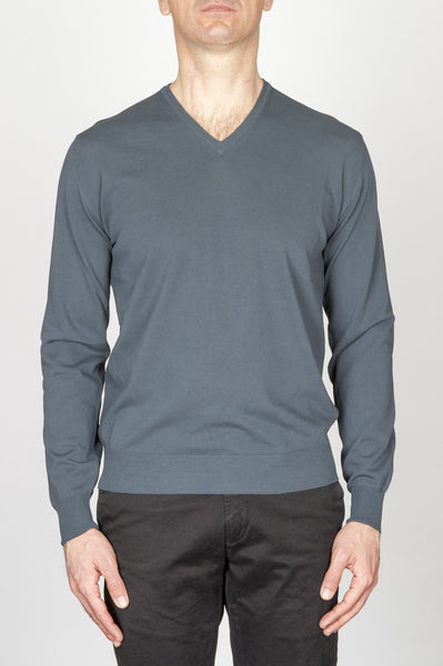 Strategic Business Unit - 00710 - Maglia Classica Scollo V In Puro Cotone Grigia - Classic V Neck Sweater In Grey Cotton - グレーの綿の古典的なvネックのセーター