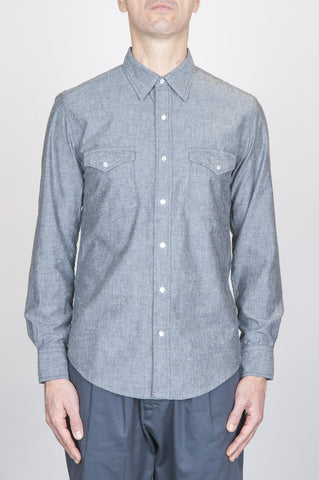 Strategic Business Unit - 00719 - Camicia Texana Western In Cotone Chambray Grigia - Classic Grey Cotton Chambray Rodeo Shirt - 古典的なグレーの綿のシャンブレーロデオシャツ