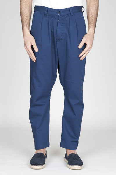 Strategic Business Unit - 00739 - Pantaloni Da Lavoro 2 Pinces Giapponesi In Cotone Blue Navy - Japanese 2 Pinces Work Pants In Navy Blue Cotton - 日本のワークパンツ2紺色のコットンでピンチ