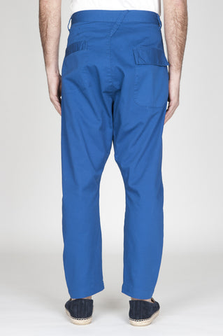 Strategic Business Unit - 00744 - Pantaloni Da Lavoro 2 Pinces Giapponesi In Cotone Blue - Japanese 2 Pinces Work Pants In Blue Cotton - 日本のワークパンツ2本が青い綿で刺繍されています