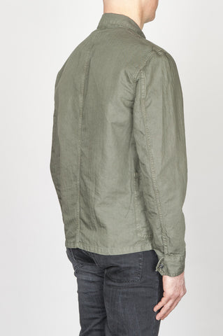 Strategic Business Unit - 00749 - Giubbino Da Lavoro Stone Washed In Lino E Cotone Verde - Stone Washed Green Work Jacket In Mixed Cotton And Linen - 綿とリネンを混紡した緑色の職人用ジャケット