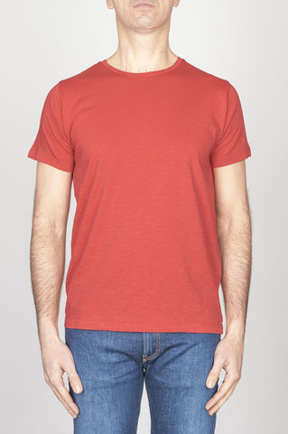 Strategic Business Unit - 00759 - T-Shirt Girocollo Aperto A Maniche Corte In Cotone Fiammato Rosso - Classic Short Sleeve Flamed Cotton Scoop Neck T-Shirt Red - 古典的な短い袖のコットンスクープネックTシャツ
