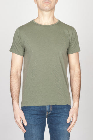 Strategic Business Unit - 00762 - T-Shirt Girocollo Aperto A Maniche Corte In Cotone Fiammato Verde Militare - Classic Short Sleeve Flamed Cotton Scoop Neck T-Shirt Light Green - 古典的な短い袖のコットンスクープネックTシャツライトグリーン