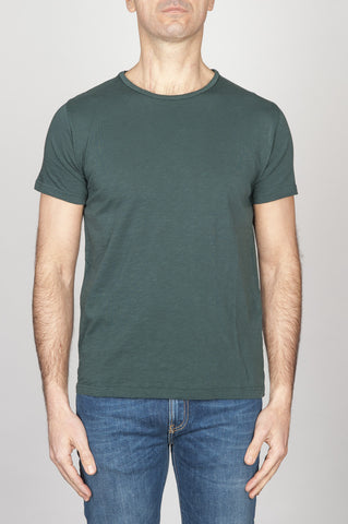 Strategic Business Unit - 00766 - T-Shirt Girocollo Aperto A Maniche Corte In Cotone Fiammato Verde Bottiglia - Classic Short Sleeve Flamed Cotton Scoop Neck T-Shirt Dark Green - 古典的な短い袖のコットンスクープネックTシャツダークグリーン