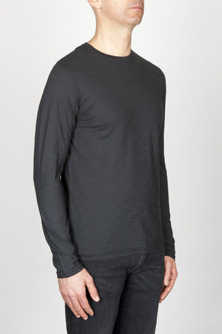 Strategic Business Unit - 00775 - T-Shirt Girocollo Classica A Maniche Lunghe In Cotone Fiammato Nera - Classic Long Sleeve Flamed Cotton Round Neck Black T-Shirt - 古典的な長袖のコットンラウンドネック黒Tシャツ