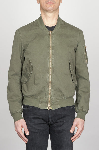 Strategic Business Unit - 00792 - Classic Flight Jacket In Cotone Stone Washed Verde - Classic Flight Jacket In Green Stone Washed Cotton - 緑色の石で洗浄された古典的なフライトジャケット