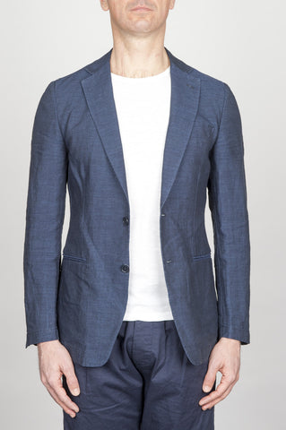 Strategic Business Unit - 00794 - Giacca Classica Monopetto Decostruita In Lino Blue Indaco - Single Breasted Unlined 2 Button Jacket In Indigo Blue Linen - シングルブレストアンライド2ボタンジャケット、インディゴブルーリネン