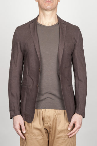 Strategic Business Unit - 00795 - Giacca Classica Monopetto Decostruita In Lino Marrone - Single Breasted Unlined 2 Button Jacket In Brown Linen - ブラウンリネンのシングルブレストアンライン2ボタンジャケット
