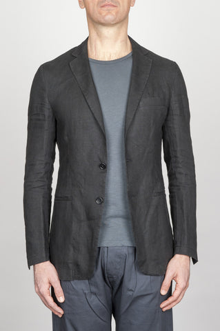 Strategic Business Unit - 00796 - Giacca Classica Monopetto Decostruita In Lino Nera - Single Breasted Unlined 2 Button Jacket In Black Linen - シングルブレスト・アンライン2ボタン・ジャケット(ブラック・リネン)
