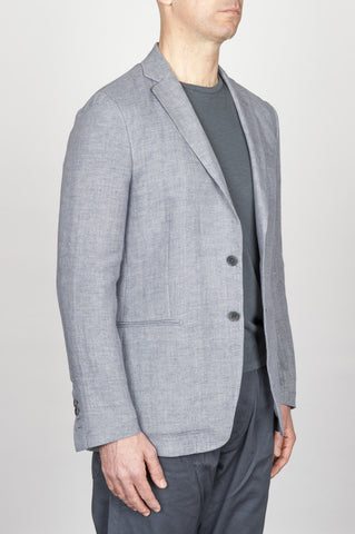 Strategic Business Unit - 00800 - Giacca Classica Monopetto Decostruita In Lino E Cotone Grigia - Single Breasted Unlined 2 Button Jacket In Grey Linen And Cotton - グレーのリネンと綿のシングルブレストアンライン2ボタンジャケット