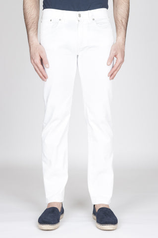 Strategic Business Unit - 00807 - Jeans In Bull Denim Sovrattinto Elasticizzato Bianco - White Overdyed Stretch Bull Denim Jeans - 白い過酷なストレッチブルデニムジーンズ