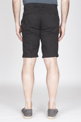 Strategic Business Unit - 00813 - Bermuda Shorts In Cotone Elasticizzato Nero - Classic Short Pants In Black Stretch Cotton - ブラックストレッチコットンの古典的なショートパンツ