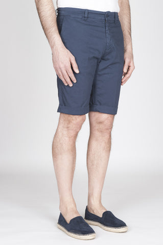 Strategic Business Unit - 00814 - Bermuda Shorts In Cotone Elasticizzato Blue Navy - Classic Short Pants In Blue Navy Stretch Cotton - 古典的なショートパンツ、ブルーのネイビーストレッチコットン