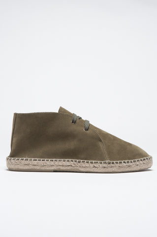 Strategic Business Unit - 00820 - Espadrillas Stringate In Pelle Di Vitello Scamosciata Suola In Gomma Verde - Original Suede Leather Lace Up Espadrilles Rubber Sole Green - オリジナルのスエードレザーレースアップエスパドリーユラバーソールグリーン