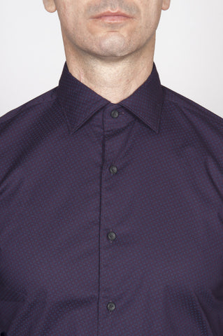 Strategic Business Unit - 00198 - Camicia Classica In Cotone Elasticizzato Viola Collo A Punta Fantasia Blu - Classic Point Collar Stretch Cotton Purple Patterned Shirt - 古典的なポイントカラーストレッチコットン紫色のパターン化されたシャツ