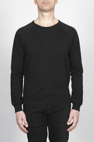 Strategic Business Unit - 00242 - Felpa Classic Girocollo Manica Raglan Jersey Cotone Nera - Classic Crewneck Raglan Sleeve Cotton Jersey Black Melange Sweatshirt - 古典的なクルーネックラグランスリーブコットンジャージ黒メランジトレーナー
