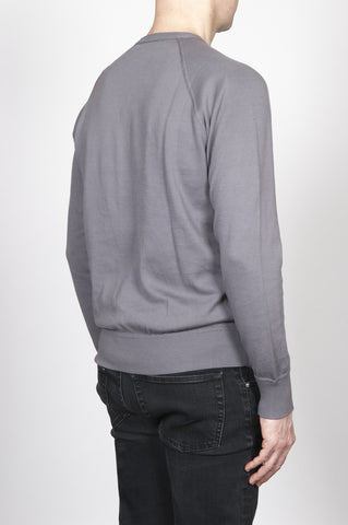 Strategic Business Unit - 00245 - Felpa Classic Girocollo Manica Raglan Maglia Di Cotone Grigia - Classic Crewneck Raglan Sleeve Cotton Knit Grey Sweatshirt - 古典的なクルーネックラグランスリーブコットングレーのスウェットシャツをニット