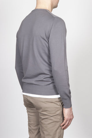 Strategic Business Unit - 00251 - Maglia Classic Girocollo In Puro Cotone Grigia - Classic Crew Neck Cotton Knit Grey Sweater - 古典的なクルーネックの綿は、グレーのセーターを編みます
