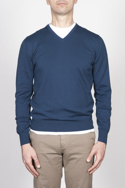 Strategic Business Unit - 00252 - Pullover Classico Scollo A V In Puro Cotone Blue - Classic V-Neck Cotton Knit Blue Sweater - 古典的なVネックの綿は、青いセーターを編みます