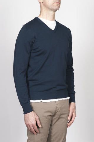 Strategic Business Unit - 00253 - Pullover Classico Scollo A V In Puro Cotone Blue Navy - Classic V-Neck Cotton Knit Blue Navy Sweater - 古典的なVネックの綿はネイビーブルーのセーターを編みます
