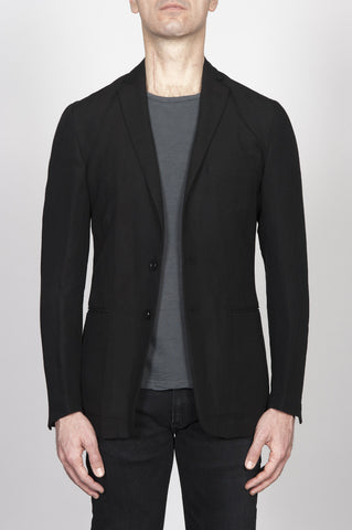 Strategic Business Unit - 00260 - Giacca Sfoderata Monopetto 2 Bottoni In Misto Lino Nera - Single Breasted Unlined 2 Button Jacket In Linen Blend Black - リネンブレンドブラックでシングルブレスト裏地なし2ボタンジャケット