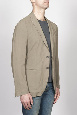 Strategic Business Unit - 00261 - Giacca Sfoderata Monopetto 2 Bottoni In Misto Lino Verde Olivia - Single Breasted Unlined 2 Button Jacket In Linen Blend Olive Green - リネンブレンドオリーブグリーンでシングルブレスト裏地なし2ボタンジャケット