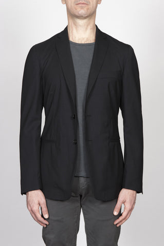Strategic Business Unit - 00265 - Giacca Sfoderata Monopetto 2 Bottoni In Fresco Lana Nera - Single Breasted Unlined 2 Button Cool Wool Jacket Black - シングルブレスト裏地なし2ボタンクールウールジャケットブラック