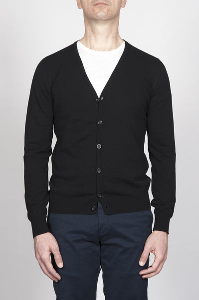 Strategic Business Unit - 00270 - Cardigan Classico Nero In Cotone Scollo A V - Classic V-Neck Cardigan In Black Pure Cotton - 黒の純粋な綿でクラシックなVネックカーディガン