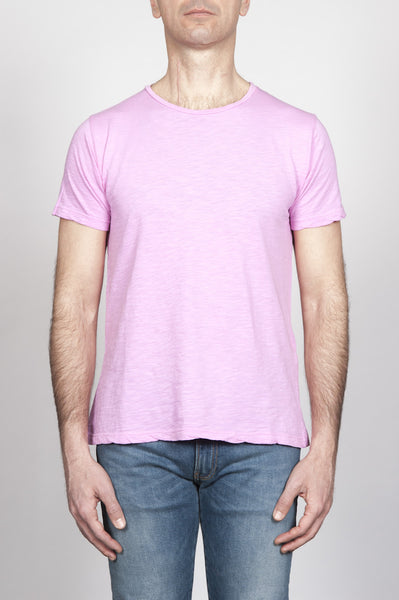 Strategic Business Unit - 00294 - T-Shirt Girocollo Classica A Maniche Corte In Cotone Fiammato Rosa - Classic Short Sleeve Flamed Cotton Jersey Crewneck T-Shirt Pink - 古典的な短い袖フレアコットンジャージークルーネックTシャツピンク