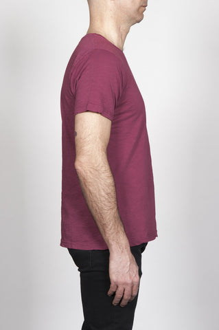Strategic Business Unit - 00296 - T-Shirt Girocollo Classica A Maniche Corte In Cotone Fiammato Rossa Bordeaux - Classic Short Sleeve Flamed Cotton Jersey Crewneck T-Shirt Dark Red - 古典的なショートスリーブコットンジャージークルーネックTシャツ暗赤色