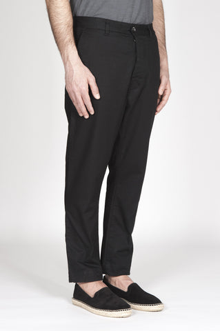 Strategic Business Unit - 00326 - Pantaloni Da Lavoro Giapponesi In Cotone Stretch Nero - Japanese Work Pants In Black Stretch Cotton - 黒のストレッチコットンで日本のワークパンツ
