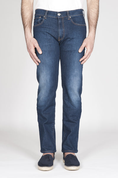Strategic Business Unit - 00337 - Jeans Tinto Indaco In Stretch Denim Giapponese Lavaggio Scuro - Original Indigo Dyed Japanese Stretch Denim Jeans Dark Wash - 本来のインディゴはダークウォッシュ日本のストレッチデニムジーンズを染め