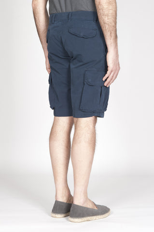 Strategic Business Unit - 00340 - Bermuda Cargo Shorts Classici In Cotone Blue - Classic Regular Fit Cargo Shorts In Blue Cotton - 青色の綿で古典的なレギュラーフィットカーゴショーツ