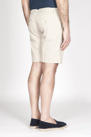 Strategic Business Unit - 00344 - Bermuda Shorts Classici In Cotone Elasticizzato Beige - Classic Regular Fit Short Pants In Beige Stretch Cotton - ベージュのストレッチコットンで古典的なレギュラーフィットショートパンツ