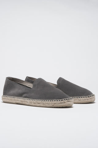 Strategic Business Unit - 00351 - Espadrillas Originali In Pelle Di Vitello Grigia Scamosciata Suola In Gomma - Original Grey Suede Leather Espadrilles Rubber Sole - 元のグレーのスエードレザーエスパドリーユラバーソール