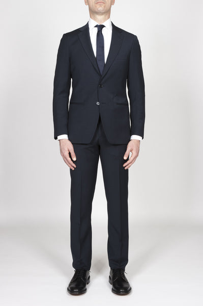 Strategic Business Unit - 00373 - Abito Navy Blue In Fresco Lana Completo Giacca E Pantalone - Men'S Navy Blue Cool Wool Formal Suit Blazer And Trouser - メンズネイビーブルーのクールウールフォーマルスーツブレザー、ズボン