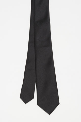 Strategic Business Unit - 00376 - Cravatta Skinny Di Seta A Punta Nera - Skinny Black Silk Pointed Tie - スキニー黒のシルクのネクタイを指摘しました
