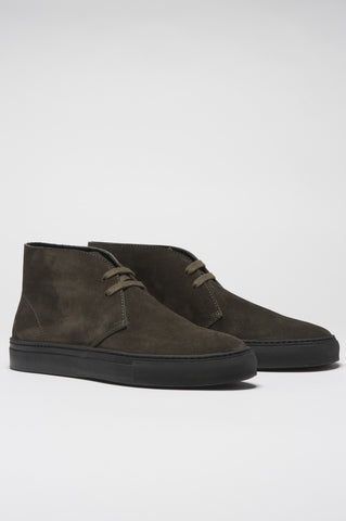 Strategic Business Unit - 00390 - Polacchina Classica In Pelle Scamosciata Verde - Classic Calf Suede Leather Green Mid Top Chukka Boot - 古典的なカーフスエードレザーグリーンミッドトップチャッカブーツ
