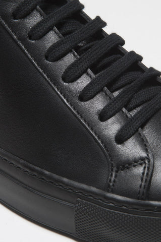 Strategic Business Unit - 00391 - Sneakers Classiche Alte Nere In Pelle Di Vitello - Classic Calf-Skin Leather Mid Top Black Sneaker - 古典的なカーフスキンレザーミッドトップ黒のスニーカー
