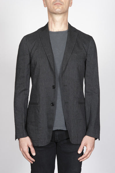 Strategic Business Unit - 00393 - Giacca Sfoderata Monopetto 2 Bottoni In Lino Grigia Melange - Single Breasted Unlined 2 Button Jacket In Grey Melange Linen - グレーメランジリネンでシングルブレスト裏地なし2ボタンジャケット