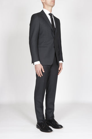 Strategic Business Unit - 00396 - Abito Grigio In Fresco Lana Completo Giacca E Pantalone Occhio Di Pernice - Men'S Grey Cool Wool Formal Suit Partridge Eye Blazer And Trouser - メンズグレークールウールフォーマルスーツヤマウズラの目のブレザー、ズボン