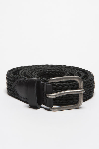 Strategic Business Unit - 00405 - Cintura In Pelle Di Vitello Incordata Nera Con Fibbia Di Metallo - Classic Belt In Black Calfskin Braided Leather Adjustable Buckle Closure - 黒のカーフスキンの編みこみの革調節可能なバックルで古典的なベルト