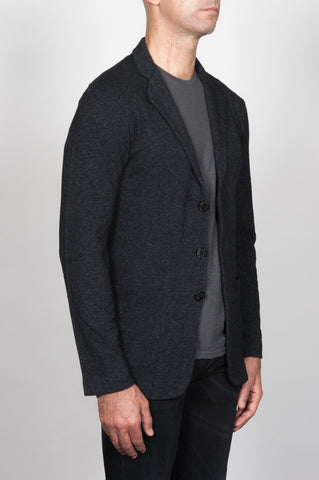 Strategic Business Unit - 00074 - Giacca Cardigan Sfoderata Monopetto Grigio In Maglia Misto Cashmere - Single Breasted Unlined Cardigan Jacket In Grey Cashmere Blend - グレーのカシミアブレンド中のシングルブレスト裏地なしカーディガンジャケット