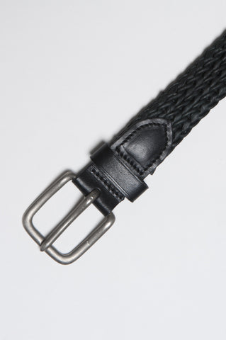 Strategic Business Unit - 00189 - Cintura In Pelle Di Vitello Incordata Nera Con Fibbia Di Metallo Altezza 3 Cm - Classic Belt In Black Calfskin Braided Leather Adjustable Buckle Closure Height 1.2 Inches - 黒のカーフスキン編みこみの革調節可能なバックル高さの古典的なベルト1.2インチ
